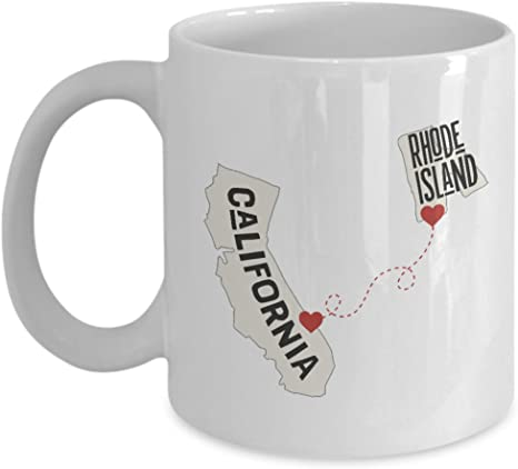 Amazon Com California And Rhode Island Ceramic Coffee Mug Tea Cup Designed By Semperly Long Distance Relationships Gifts For Him Her Friends Family Kitchen Dining