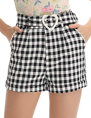 Belle Poque Women Plus Size High Waisted Shorts with Pocket, Black Plaid, X-Large