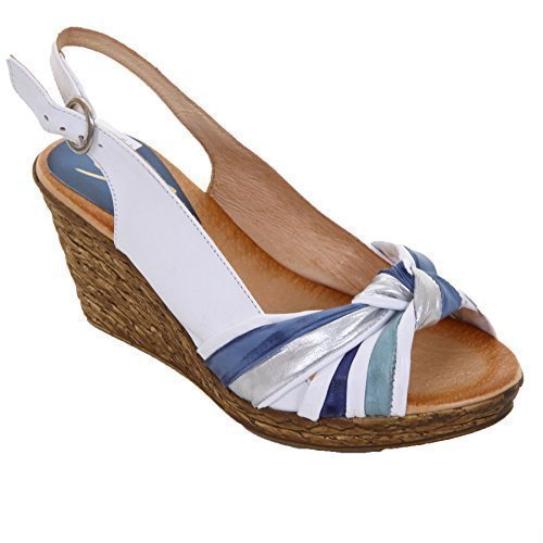 Knot White Peep Textured Women's Shoes Wedges Toe Wedge Sapphire Ladies Medium Casual A4fTxxq