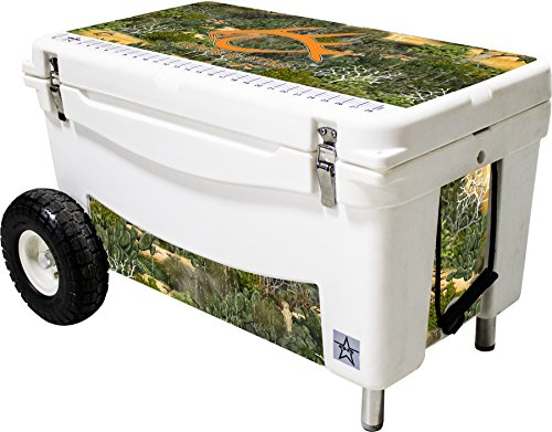 Frio Ice Chests Extreme Wheeled White Hard Side with Hook and Stag Camo Theme Vinyl Wrap and Built-in Motion Sensitive Light Bar with Bottle Openers, 65 quart by Frio Ice Chests
