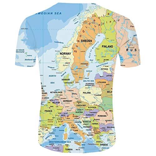 (Men's Summer T-Shirt 3D Printed Blouse Short Sleeves Comfort Top Light Blue)