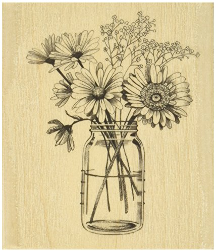 "Inkadinkado 60-01218 Mounted Rubber Stamp, 3.5"" x 4"", Floral Mason Jar, Red"