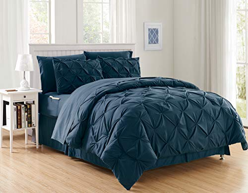 Luxury Best, Softest, Coziest 8-PIECE Bed-in-a-Bag Comforter Set on Amazon! Elegant Comfort - Silky Soft Complete Set Includes Bed Sheet Set with Double Sided Storage Pockets, King/Cal King, Navy Blue
