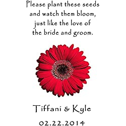 Personalized Wedding Favor Wildflower Seed Packets Red Daisy Design 6 verses to choose from Set of 100