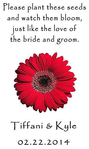 (Personalized Wedding Favor Wildflower Seed Packets Red Daisy Design 6 verses to choose from Set of 100)