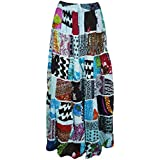 Mogul Interior Womens Patchwork Skirt Vintage Patches Ethnic Peasant Long Skirts S/M (Blue)