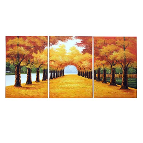 Wholesale Art Folk - VASTING ART 3-Panel 100% Hand-Painted Oil Paintings Landscape Forest Trees Trail Modern Abstract Artwork Stretched Wood Framed Ready Hang Home Decoration Wall Decor Living Room Bedroom Yellow Autumn