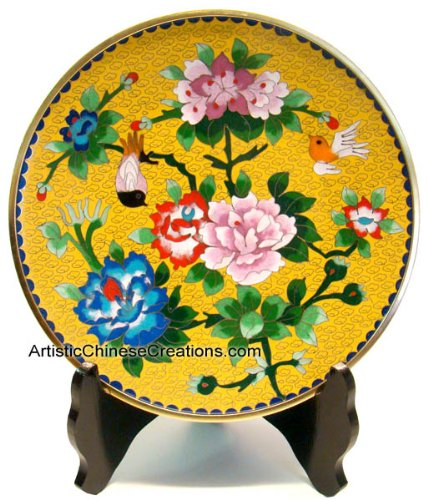 Chinese Art / Chinese Collectibles / Chinese Home Decor / Chinese Gifts: Chinese Cloisonne Plate - Peony & Birds