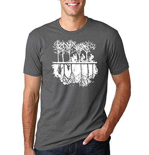 Bike White T-shirt (Wild Bobby Upside Down Bike Silhouette | White | Mens Pop Culture Tee Graphic T-Shirt, Charcoal, Large)