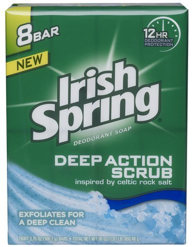 Irish Spring Deep Action Scrub Deodorant Soap, 8 bars of 3.75 ounces each