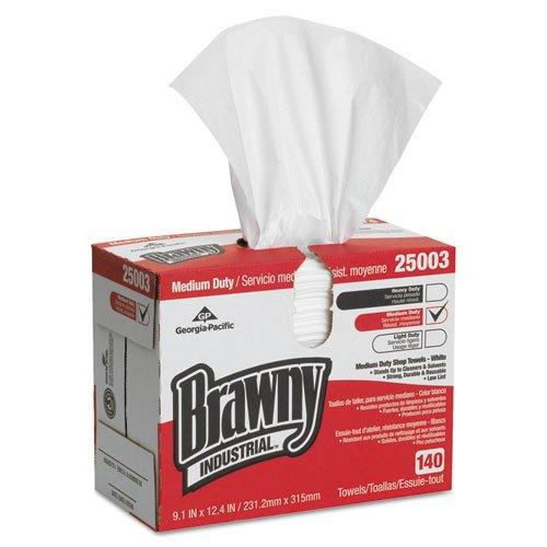 Brawny Industrial Medium Duty Shop Towels, 9 1/10 x 12 2/5, 140/Box