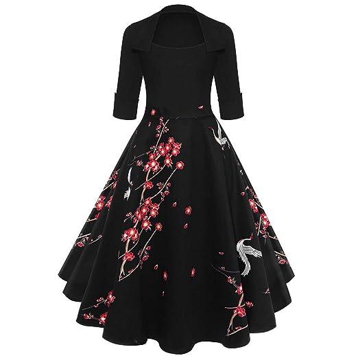 747ae8f2aee7f Retro Women Dress, Fashion Vintage Sleeve O Neck Evening Printing Party Prom  Swing Clothing Dress at Amazon Women's Clothing store: