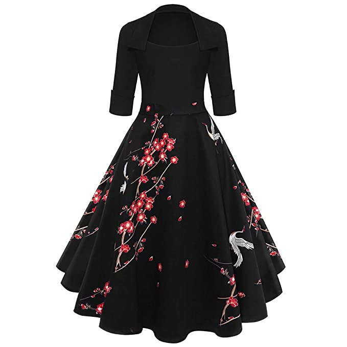 Birdfly Retro U Collar Dress Evening 50S Elegant Ball Gown All-Black Top Patwork Pleated