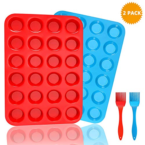 FINYOSEE Silicone Muffin Pan Baking Trays Set - 24 Cup cake Pans Silicone Baking Molds - BPA Free Food Grade & Non-Stick with Cleaning Brush,2 Pack(Blue & Red)]()
