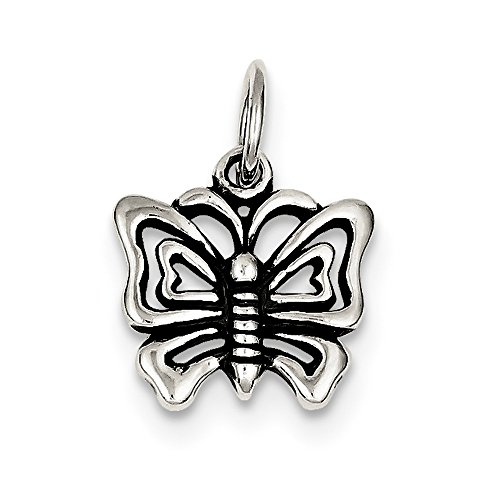 Sterling Silver 15mm Antiqued Butterfly Charm Necklace - 18 Inch