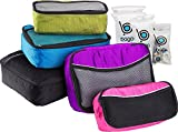 5 Packing Cubes For Travel Luggage or Suitcase + 6 Toiletry Zip Bags Organizers (Black, Blue, Purple, Green, Pink)