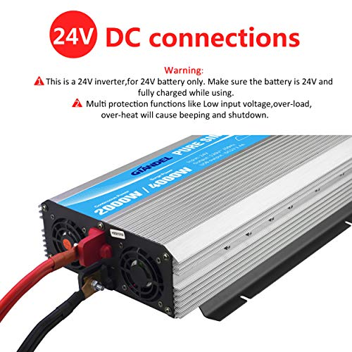 Giandel 2000W Pure Sine Wave Power Inverter DC 24V to AC120V with Dual AC Outlets with Remote Control 2.4A USB and LED Display by Giandel (Image #3)