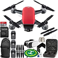 DJI Spark Portable Mini Drone Quadcopter (Lava Red) EVERYTHING YOU NEED Ultimate Bundle