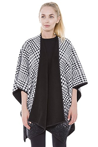 BYOS Women Winter Stylish Reversible Printed Fleece Open Front Poncho Ruana Wrap Travel Blanket (Black Houndstooth) ()