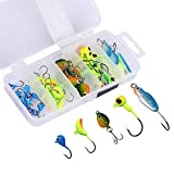ice jigs panfish - Goture Ice Fishing Jigs 5 Types with Tackle Box 40 Pieces for Walleye Winter Fishing Lures ice jigging
