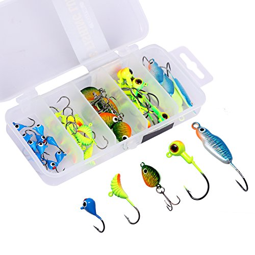 Goture Ice Fishing Jigs 5 Types with Tackle Box 40 Pieces for Walleye Winter Fishing Lures ice Jigging