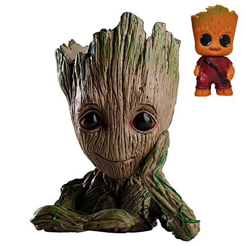 Zinuo Groot Action Figures Guardians of The Galaxy Flowerpot Baby Cute Model Toy Pen Pot -