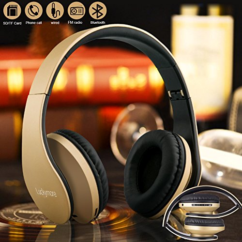 Bluetooth Headphones Over Ear, 4 in 1 Stereo Hi-Fi Wireless Headsets Foldable Headphones with Mic and FM Radio Hands Free Workout Earphones for Man Boys Teen Wired Mode for Smartphones PC Travelling