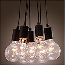 Lightess Pendant Lighting Vintage Barn Loft Cord Socket Lamp with 7 Lights Black