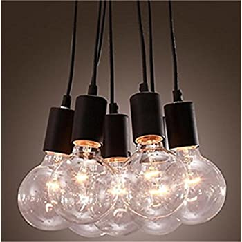 Lightess Pendant Lights Vintage Multi Cord Edison Bulb Black Barn Hanging Lamp Lighting With 7 Heads