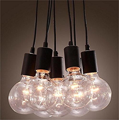 Lightess Pendant Lights Vintage Multi Cord Edison Bulb Black Barn Hanging Lamp Lighting With 7 Heads (Multi Pendant Light Fixture)