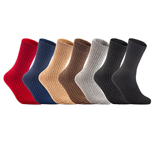 Lian LifeStyle Mens 3 Pairs Knitted Wool Crew Socks One Size 8-11
