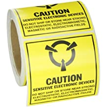"""SL-5 extraíble Papel estáticas etiquetas de la conciencia, Negro en amarillo, 4.000 """"x 4.000"""" (101.600 mm x 101.600 Mm), la leyenda """"Precaución Sensible electrónico ... (Mil Std. Símbolo 129J)"""" (250 etiquetas por rollo, 1 rollo por paquete)"""