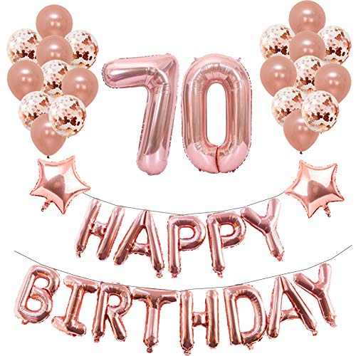 70th Birthday Party Decorations Puchod Foil Balloons Banner Supplies Set Gold
