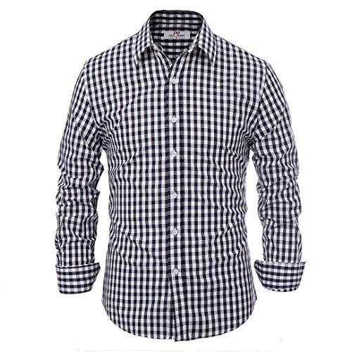 - Paul Jones®Men's Shirt Button Down Dress Shirt for Men Slim Fit Navy Plaid (L) KL-1 CL6299