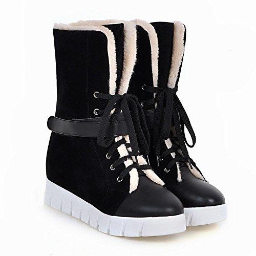 Carolbar Womens Lace-up Warm Winter Comfort Hideen Heel Snow Boots Zwart