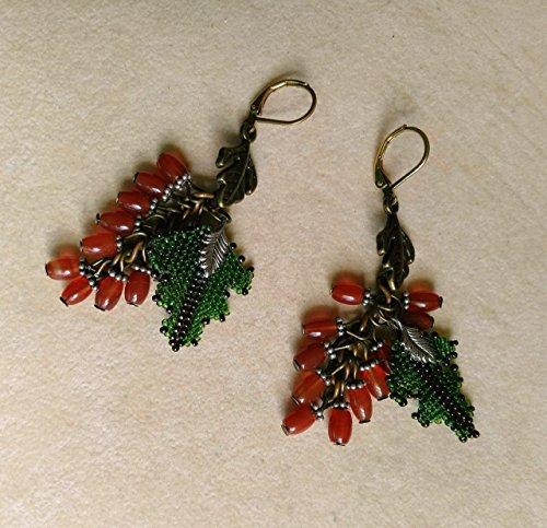 Small Carnelian Acorn Cluster Earrings
