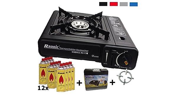 Hornillo de gas camping hervidor + 12 x Cartuchos de Gas + cocina de gas Cruz + Maletín (Color Negro, Rojo, Azul o gris): Amazon.es: Grandes ...