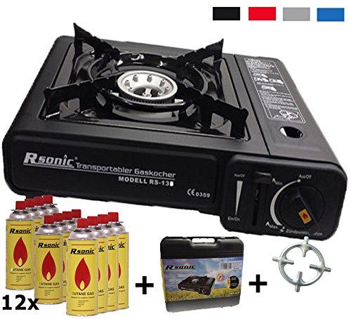Hornillo de gas camping hervidor + 12 x Cartuchos de Gas + cocina de gas Cruz