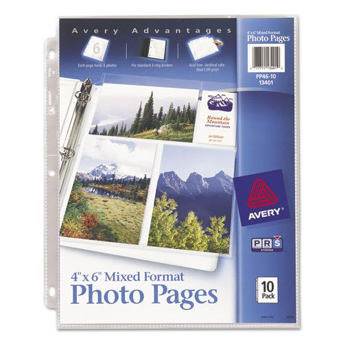 Picture Sheets - Avery Products - Avery - Photo Pages for Six 4 x 6 Mixed Format Photos, 3-Hole Punched, 10/Pack - Sold As 1 Pack - Heavy-gauge, clear polypropylene sheets. - Acid-free. - Archival-quality, won't lift print. - Three-hole punched. -