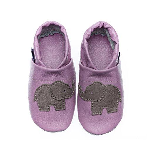 pantau.eu Lederpuschen Leder Hauschuhe Puschen Pantoffeln Schluffen Patschen Schlappen mit Elefant, Größen 36-45 LILA_GRAU