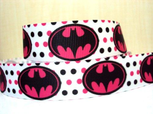 5 yards 7/8 Batman Pink and Black Polka Dot Grosgrain Ribbon