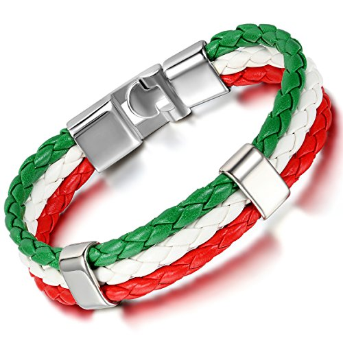 Cupimatch Mens Italy Flag Italian Banner Cuff Bangle Braided Leather Bracelet, Red White Green, 8.3