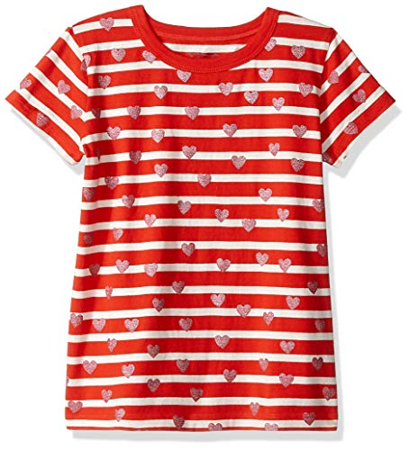 LOOK by Crewcuts Girls' Short Sleeve Heart Stripe T-Shirt, Red/Pink, Small (6/7)