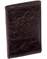 ROLFS Genuine Leather Distressed Billfold Trifold Wallet (Brown Brass)