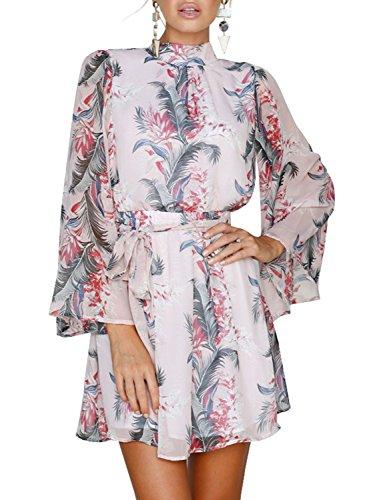 Vestito Rosa Stampa Spiaggia Donne Delle Backless Pizzo Elegante Floreale Fino Berrygo Rp7PUU