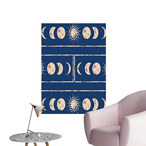 Wall Stickers for Living Room Grungy Ethnic Design of Planetary with Sun Moon Phases of Mystery Blue Vinyl Wall Stickers Print,16