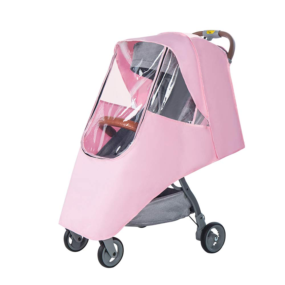 Pink Universal Baby Stroller Rain Cover with Zipper Umbrella Stroller Breathable Waterproof Windproof Dust Shield #3190