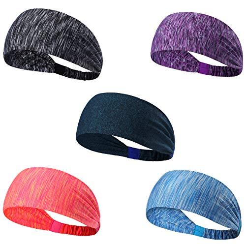 Set of 5 Women's Yoga Sport Athletic Headband For Running Sports Travel Fitness Elastic Wicking Non Slip Style Bandana Basketball Headbands Headscarf fits all Men & Women