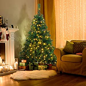 Goplus Artificial Christmas Tree Premium Spruce Hinged Tree with LED Lights and Solid Metal Stand, UL-Certified Transformer 2