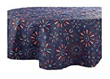 Patriotic July 4th Fireworks PEVA Vinyl Tablecloth Flannel Backed (60 round)